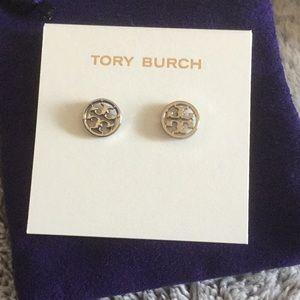 Tory Burch Logo Circle Stud Earrings NWT